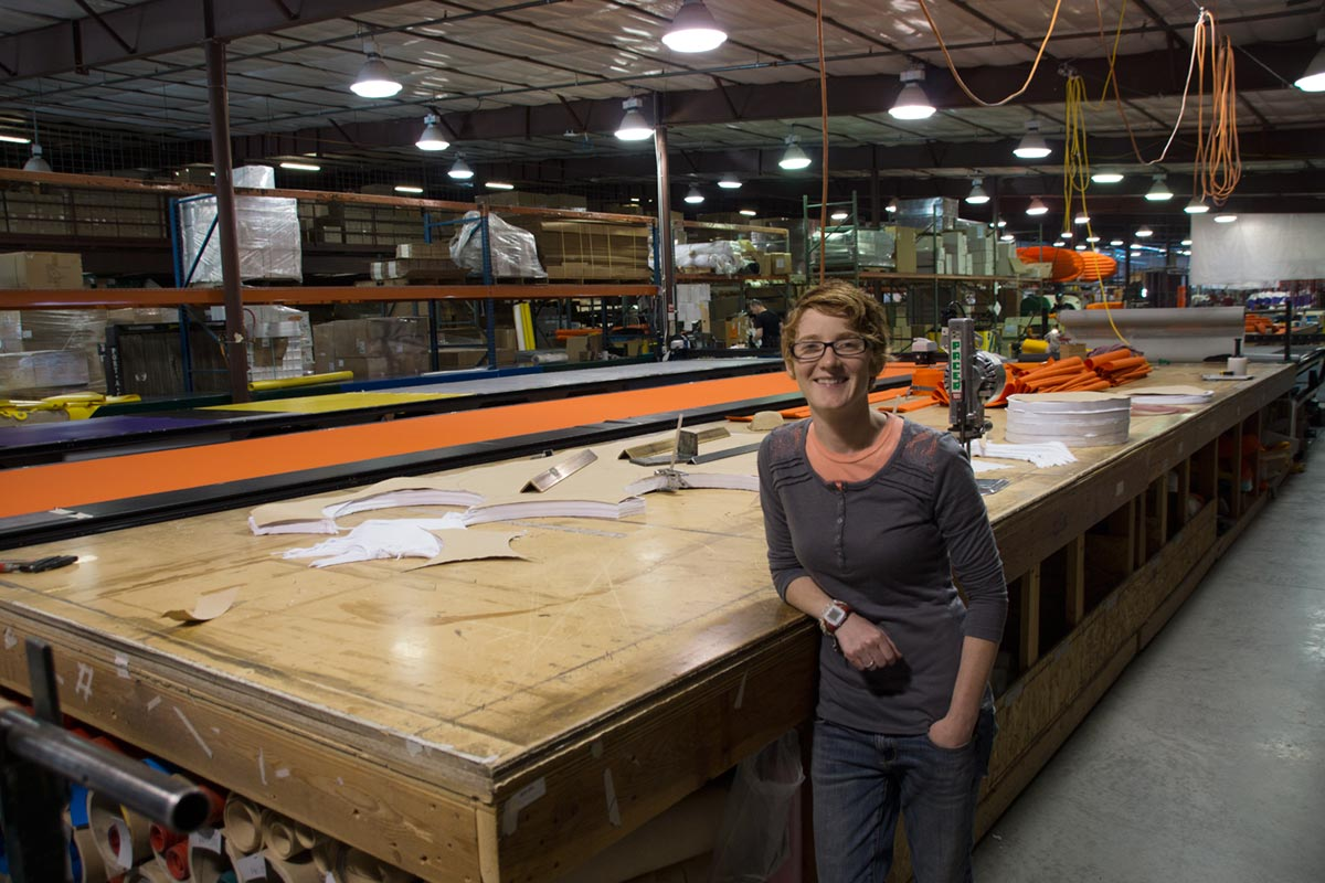 AIRE Rafts Catarafts Inflatable kayaks Cutting Table Sheena Coles Aire Marketing Manager