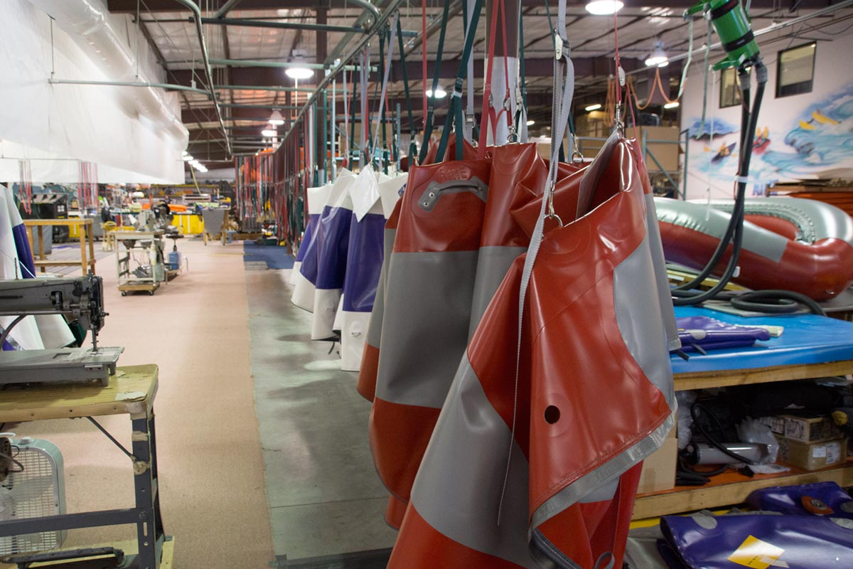AIRE Raft Factory Assembly Line of Hanging Rafts
